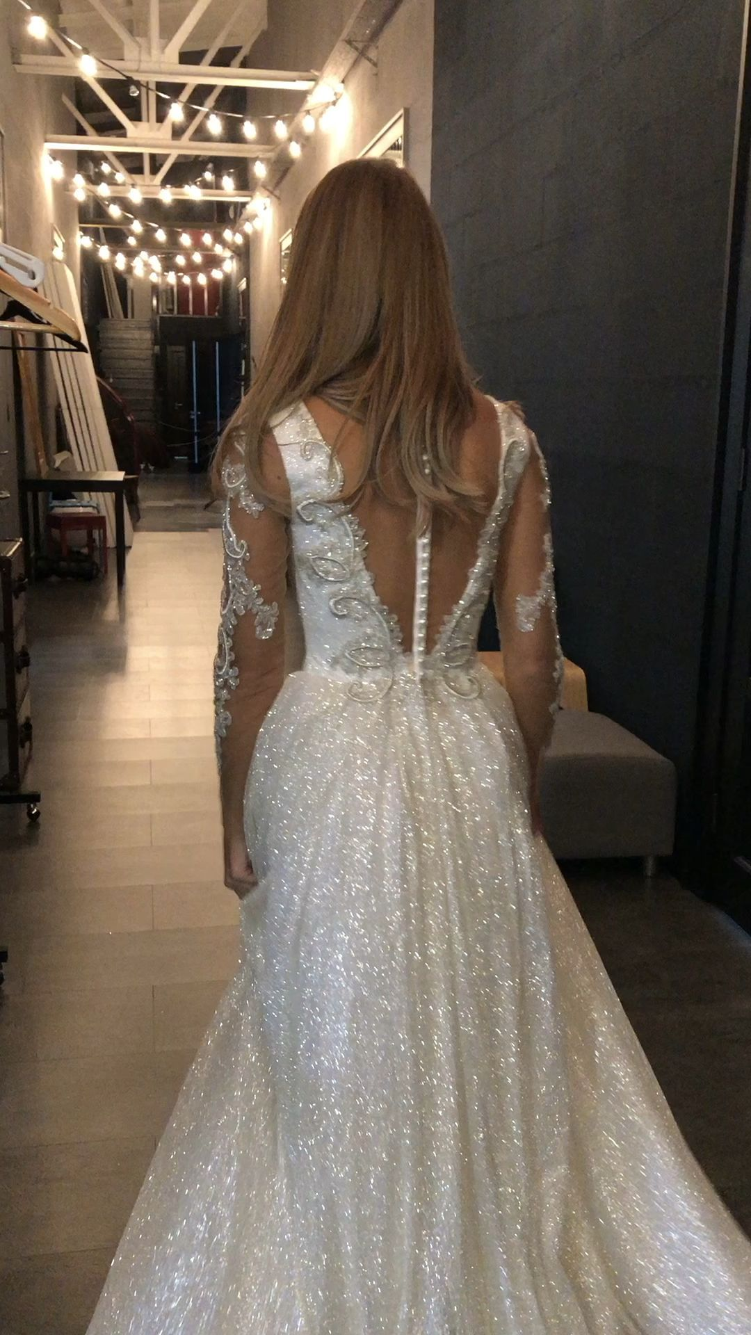 "wedding dress ""Udjin"" by Olivia Bottega. Ball wedding dress. With sparkly glitter. Open back. Glitter skirt."