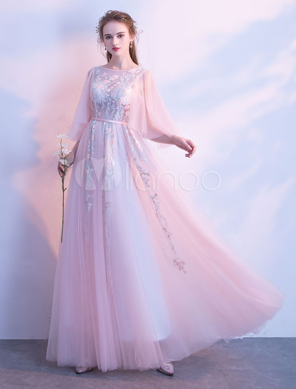 Prom Dresses Soft Pink Long Tulle Lace Half Sleeve Bateau ...