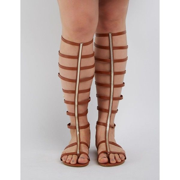 71a1c65eef77c Twisted (+) Wide Width   Calf Toe Strap Tall Knee-High Gladiator... ( 41) ❤  liked on Polyvore featuring shoes