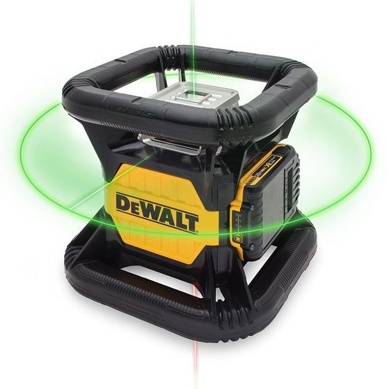DEWALT 20-Volt Lithium-Ion Green Rotary Laser Level.. With an IP67 debris/water resistance, 2 m drop protection as well as a highly-visible green beam, the DEWALT 20-Volt MAX Green Beam Rotary Tough laser allows users to use lasers in adverse conditions. This laser is Ideal for deck building, grading and foundations. Features a dual axis slope mode.
