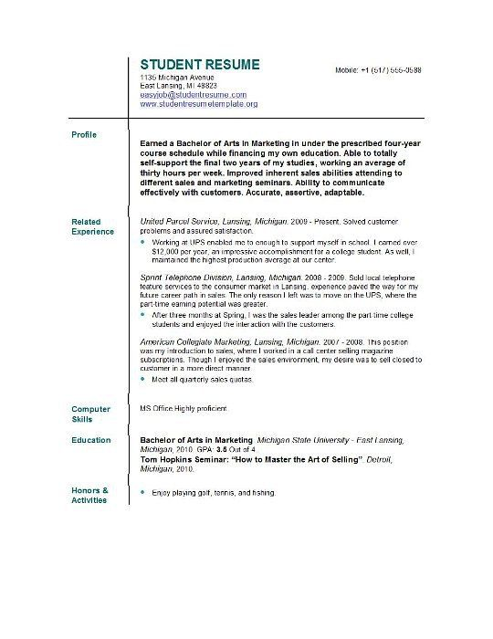 College Resume Format Examples Of Student Resumes College Resume
