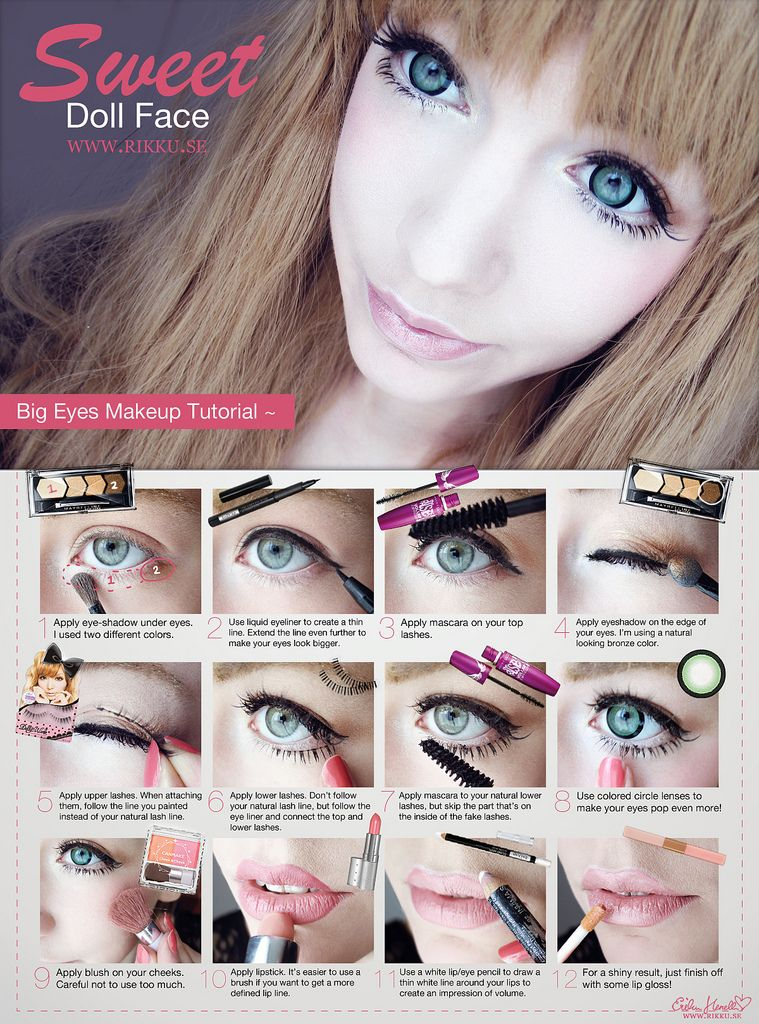 Big Dolly Eyes Makeup Tutorial Doll eye makeup, Anime