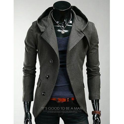 2014 Sexy Mens Hood Coat Jacket Casual Suit Blazer Slim Tops Outwear  4Colors NWT