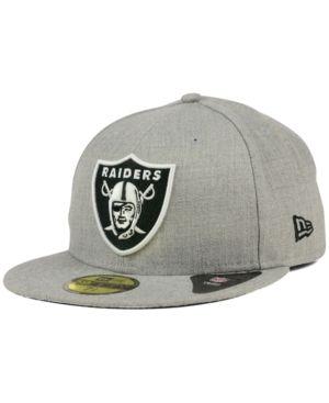 best service 9433e e8d2d New Era Oakland Raiders Heather Black White 59FIFTY Cap - Gray 6 7 8