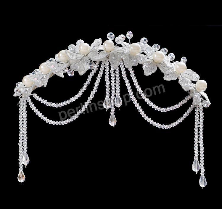Braut Stirnschmuck, Spitze, mit Kristall & Glasperlen & Eisen, weiß, 240x98mm, verkauft von Stück - perlinshop.com