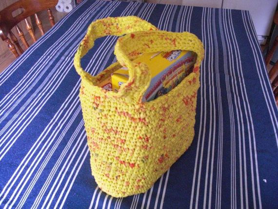 Recycled Plarn Bag Yellow Red Plastic by DebbieCrochets on Etsy, $20.00