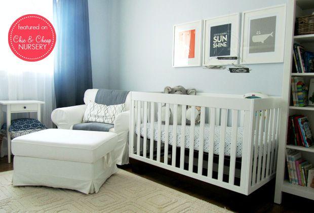 modern white blue nursery with white babyletto modo crib ikea