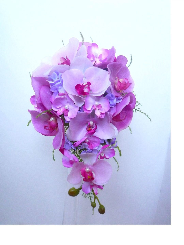 Bouquet De Mariee Orchidee Rose Violet Parme Teardrop Forme De Larme