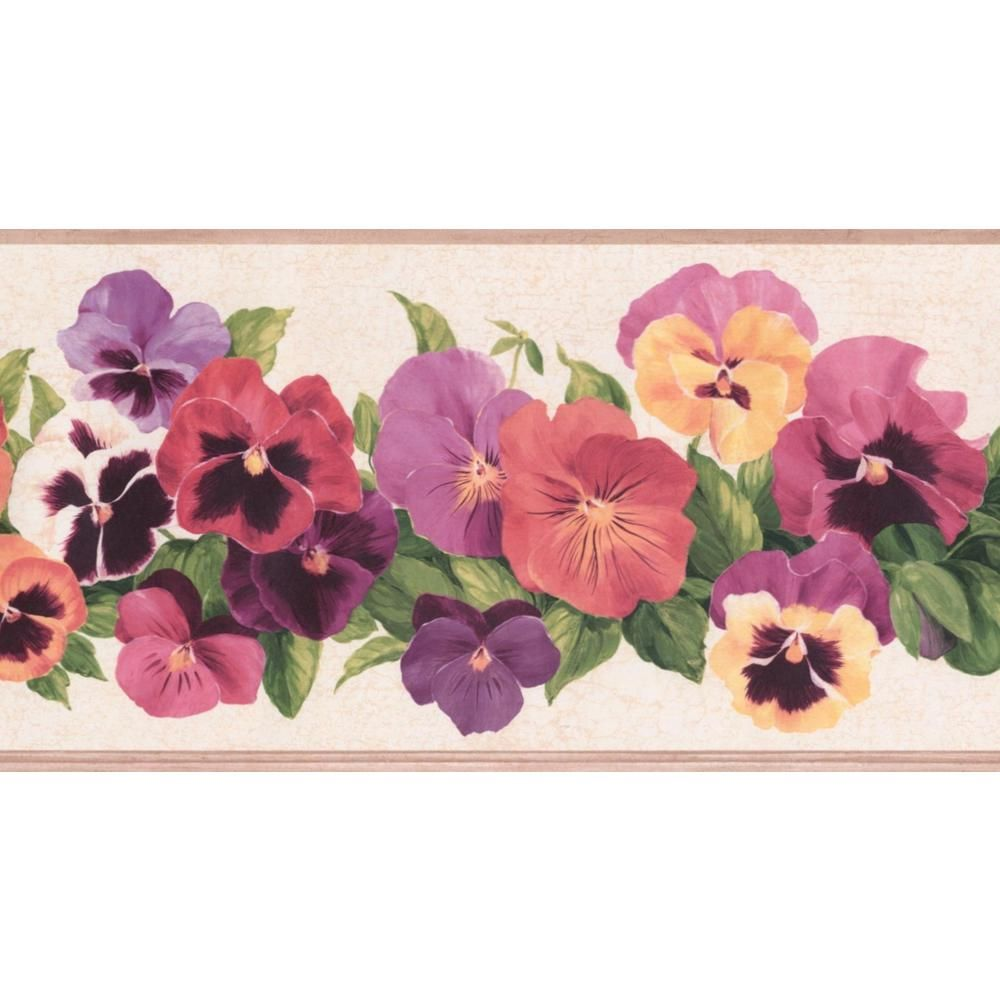York Wallcoverings Red Purple Pink Yellow Flowers Cracked White