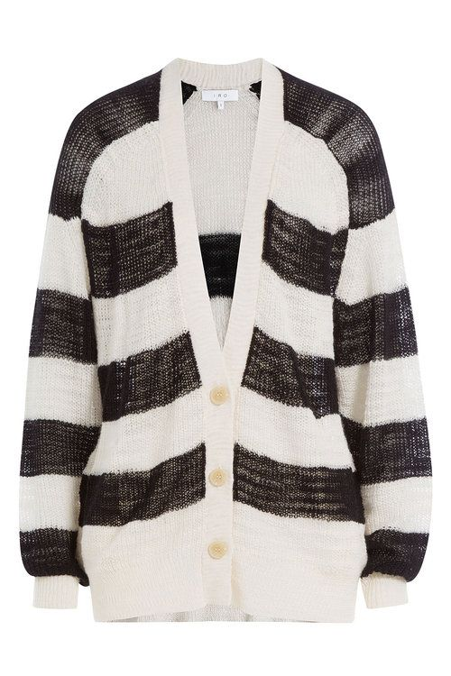 A linen-blend finish makes this black and white striped cardigan a  lightweight and comfortable cover-up from off-duty favorite, Iro. Slightly  oversize and ...