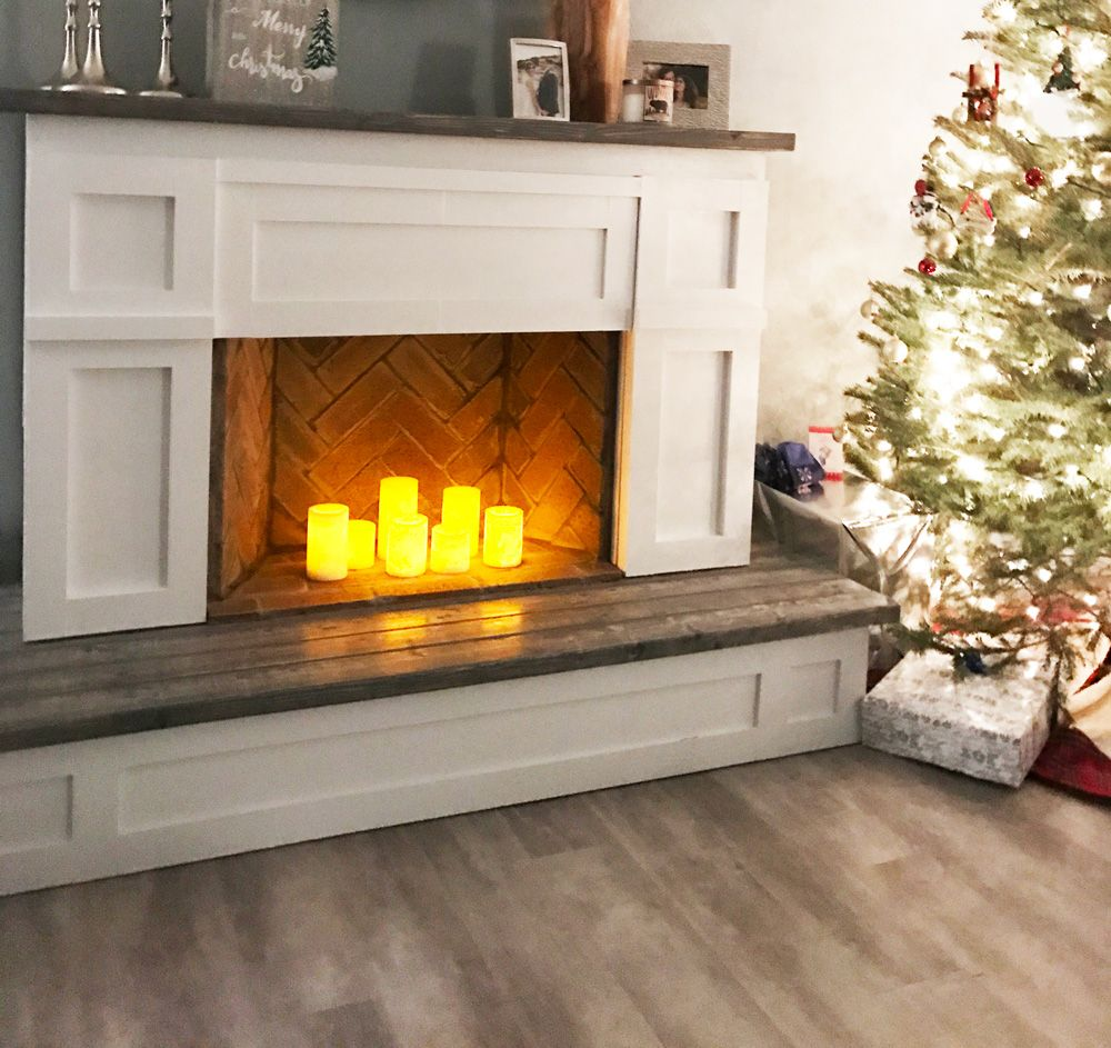 Photo of Faux Fireplace Cabinet with Hidden Storage