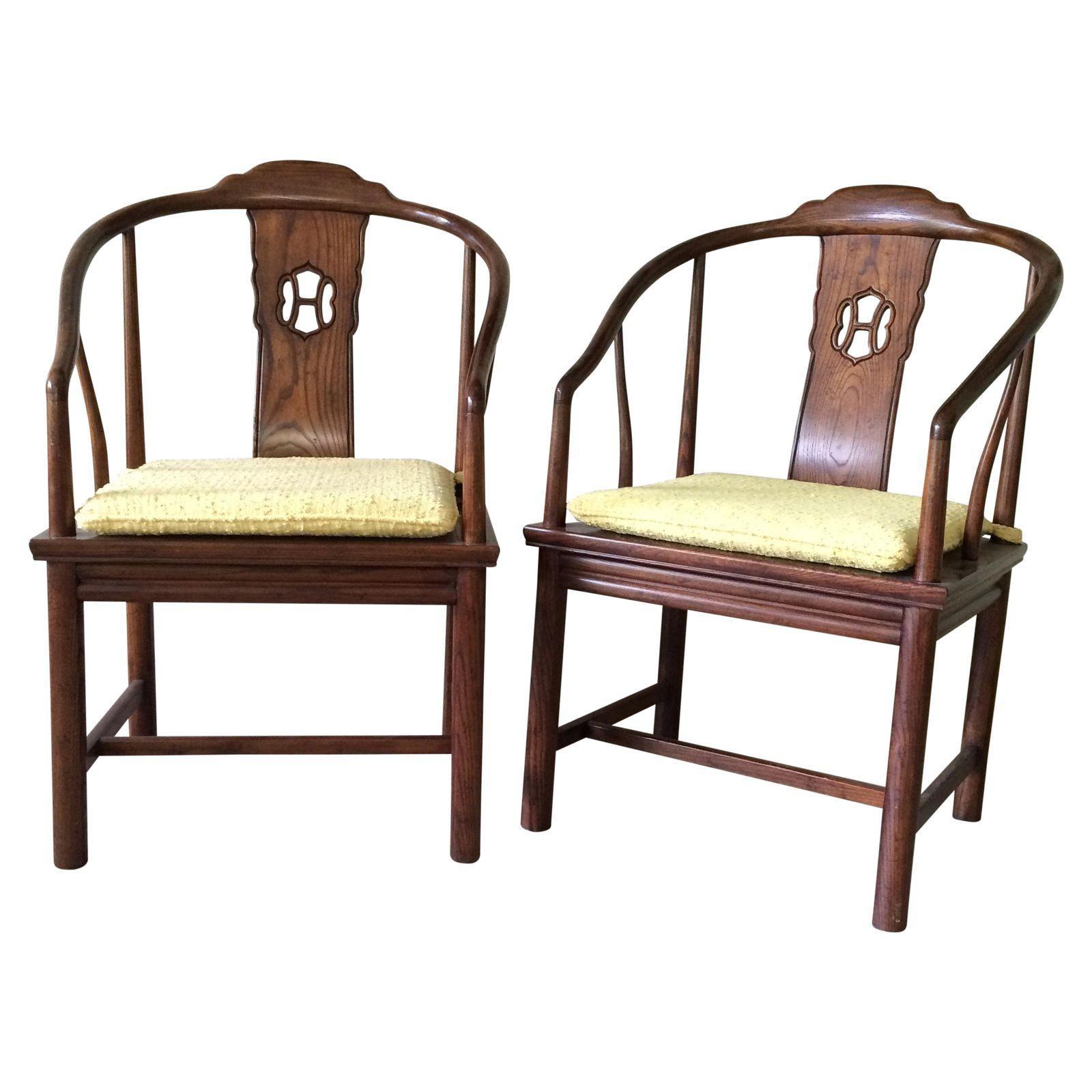 Image Of Henredon Horseshoe-Back Chairs - Pair