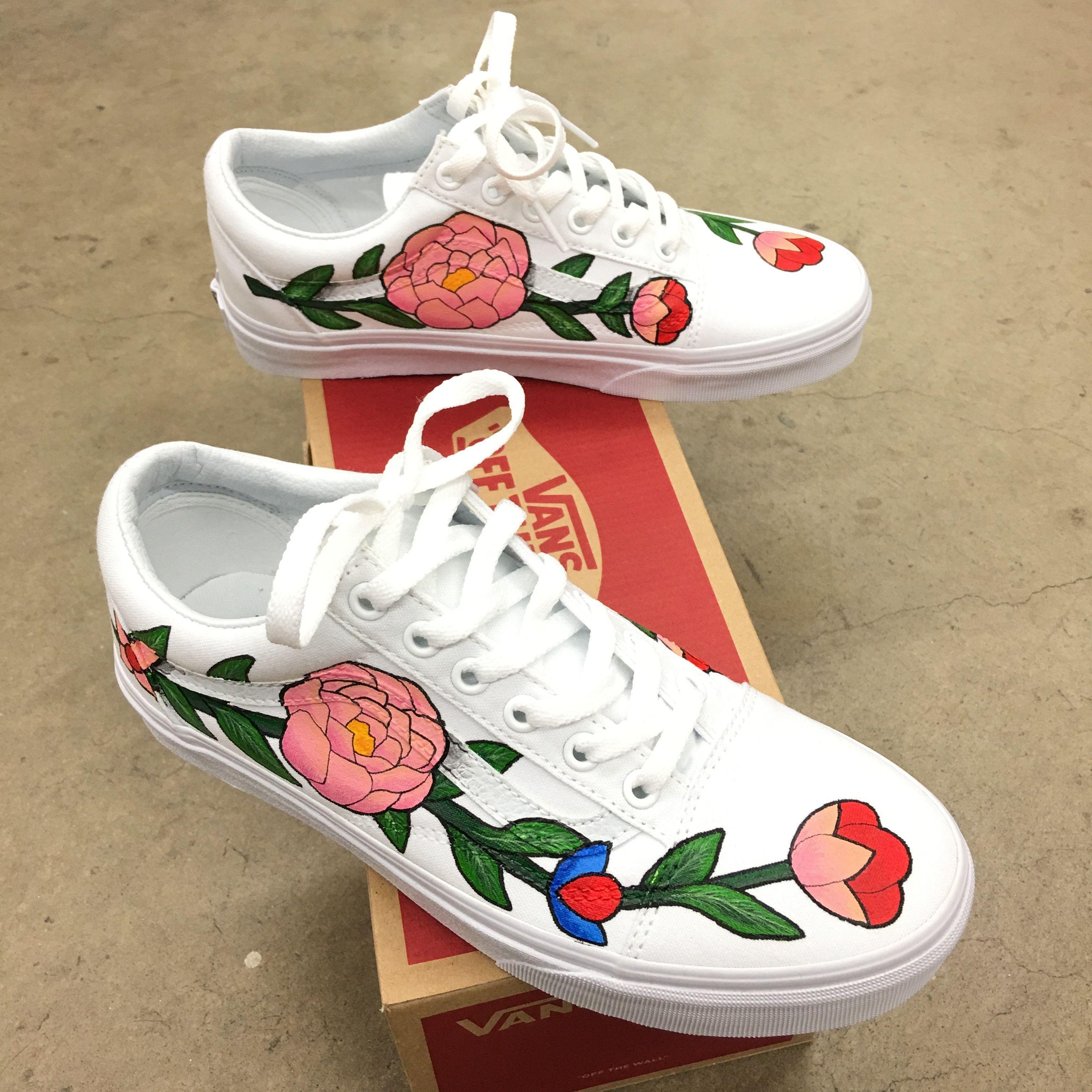 Custom Painted Vans Old Skool - Flower