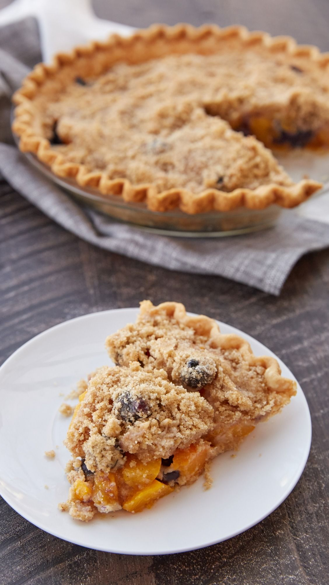 Streusel-Topped Peach-Blueberry Pie Recipe - This delicious pie combines peaches and blueberries for the perfect summer dessert!