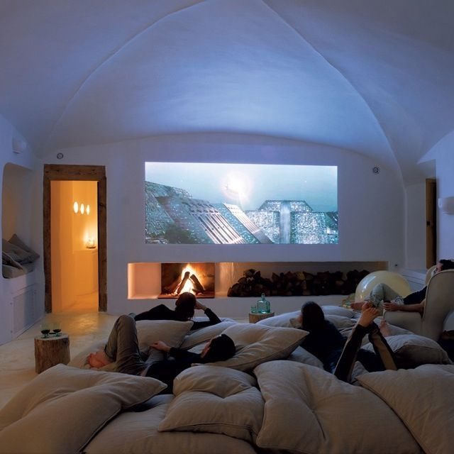 Movie Room Cool Big Tv Or Projector Plus Tons Of Large Pillows Simply Cheap And A Must Have Room Home Sleepover Room My Dream Home