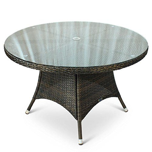 Charmant Round Rattan Outdoor Table With Glass Top   1.2 Metre Diameter 120cm  Circular Rattan Table