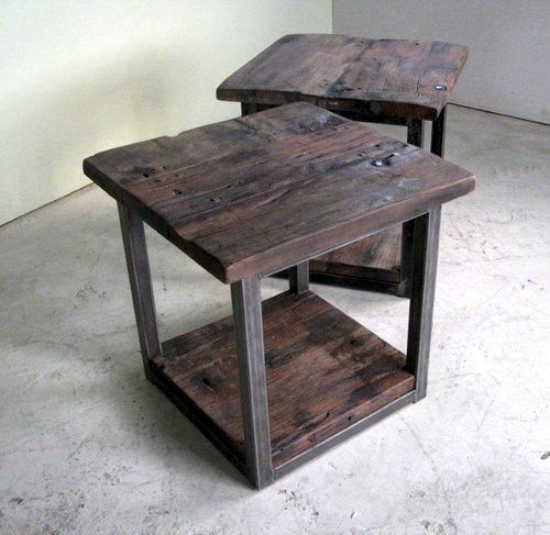 Rustic Modern End Table With Steel Base Rustic End Tables