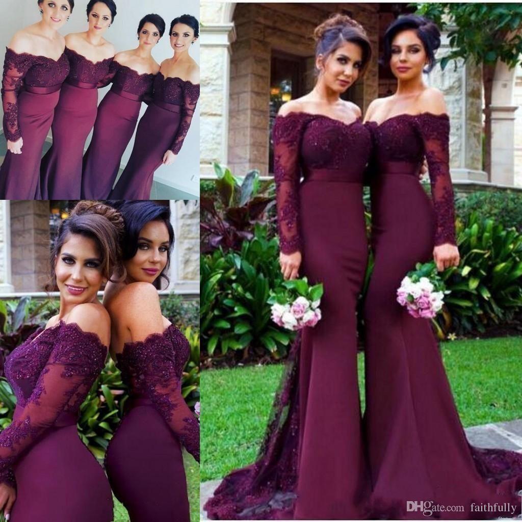 2017 Burgundy Long Sleeves Mermaid Bridesmaid Dresses Lace Appliques ...