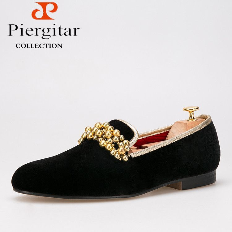558308a49 Piergitar New Style Velvet with Beading Men Shoes Loafers Smoking Slipper  Free Shipping