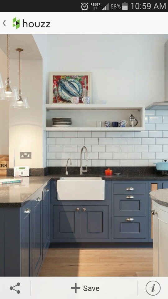 French blue cabinets with white   Kitchen interior, Chic ...