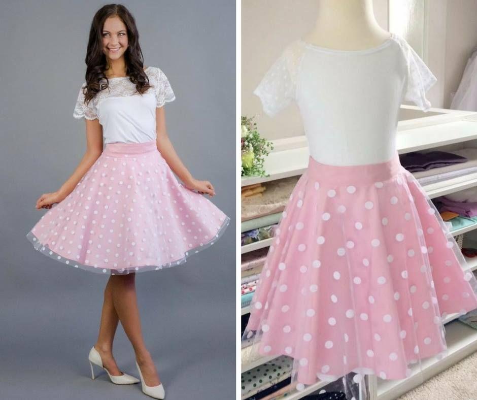 c5c31b4e678 Růžovka s puntíkatým tylem 3 4 kolová sukně barevný bavlněný podklad +  puntíkatý tyl délka