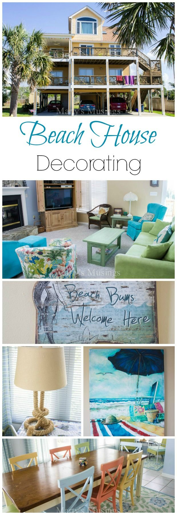 Plenty of detailed beach house decorating ideas and tips full of pictures from Marty's Musings.