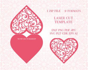 Laser cut envelope template for wedding invitation or greeting card laser cut envelope template for wedding invitation or greeting card printable papercut 9 vector formats plt dxf svg cdr stopboris Image collections