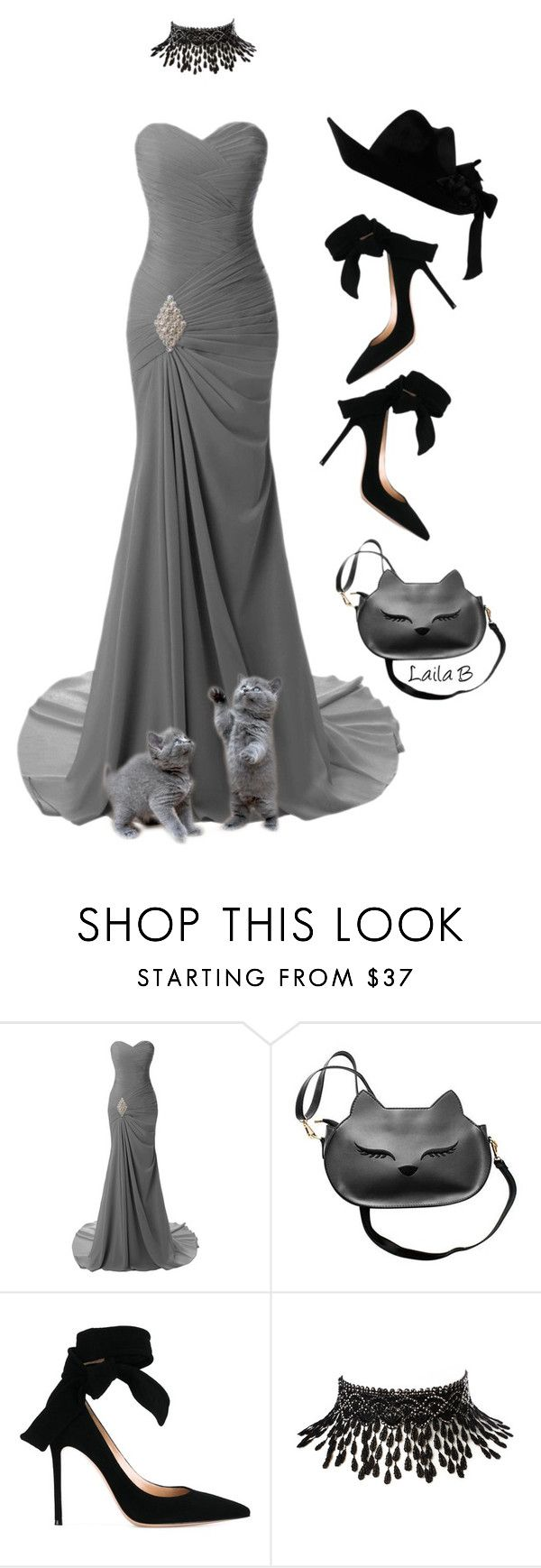 """Grey Mermaid Gown"" by laila-bergan ❤ liked on Polyvore featuring Gianvito Rossi, Amrita Singh and Gucci"