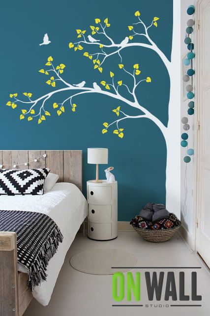 Wall decal - Large Tree Wall decal - living room wall decals Wall Sticker - wall decor  -  Tree wall decal with cute birds K003 #wallpaintingideas