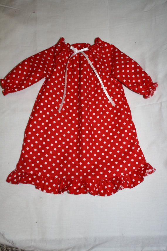 girls polka dot nightgown girls christmas red with white polka dot flannel nightgown boys - Girls Christmas Nightgowns