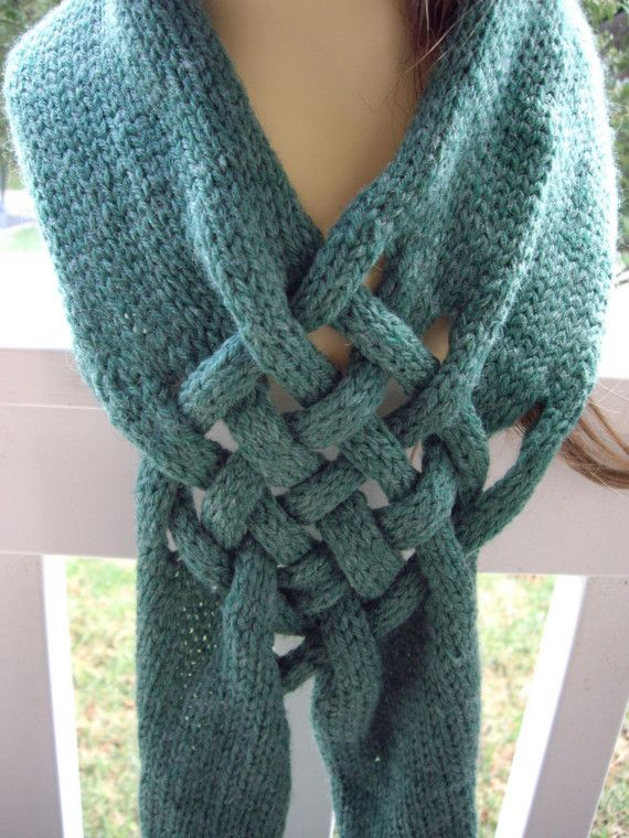 pattern for Celtic knot knitted scarf | Forest Green Heather Celtic ...