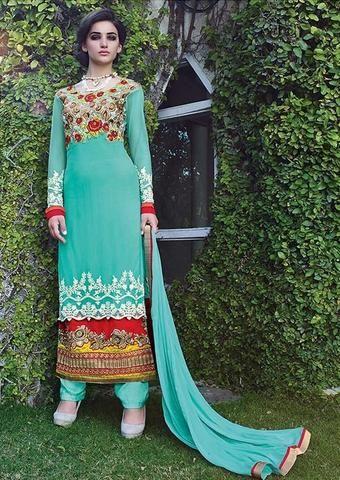 Designer Blue Netted Salwar Kameez Online Shopping India ,Indian Dresses - 1