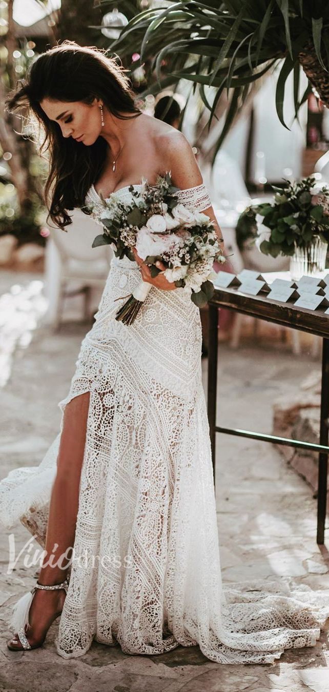 Bohemian Strapless Lace Wedding Dresses with Slit VW1092B #bohoweddingdress