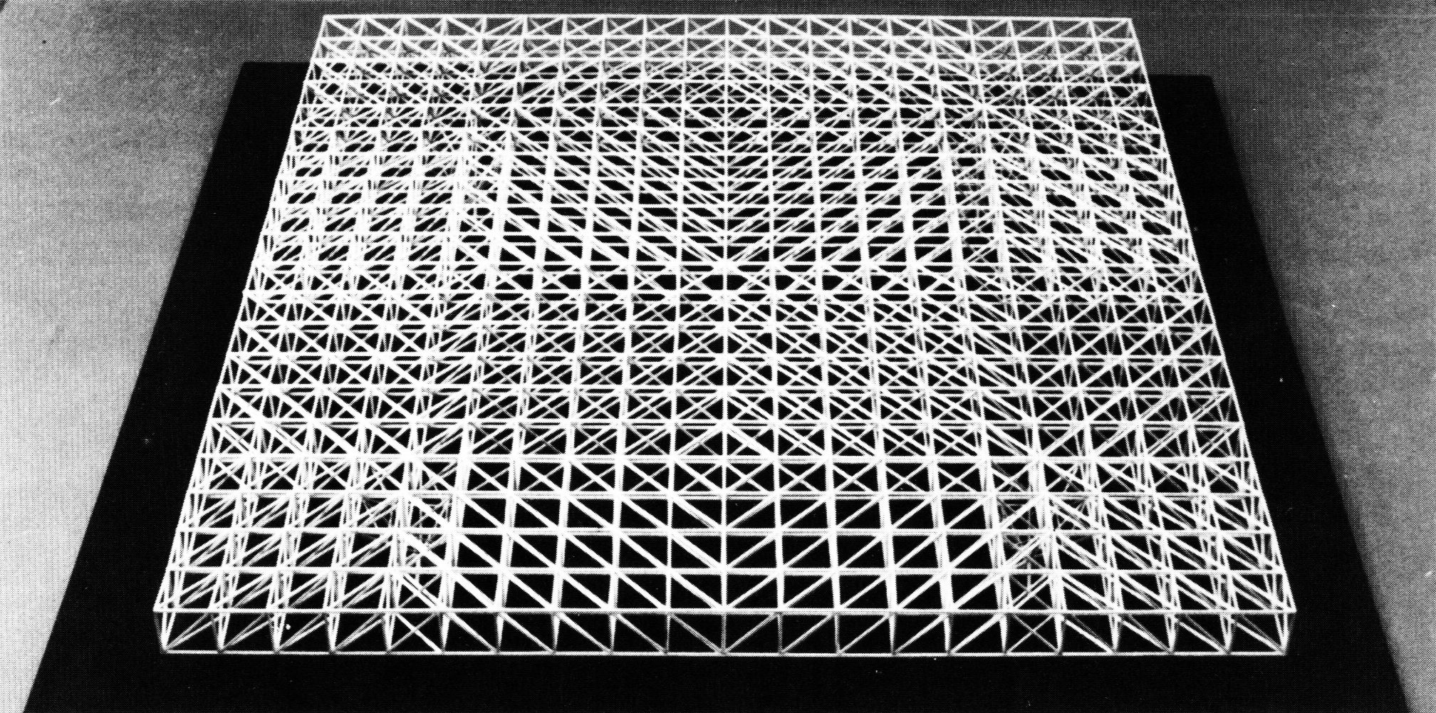 Usc Students Under Konrad Wachsmann 1965 A Long Span Structure With Minimum Support Having Maximum Us Space Frame Architecture Model Abstract Geometric Art
