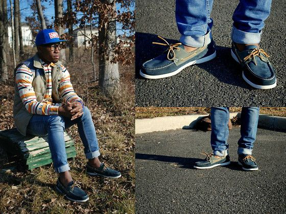 Sebago Boat Shoes, Obey Snapback, Koto Shirt, H&M Jeans, Urban Outfitters Vest, H&M Glasses