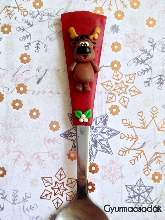 reindeed spoon christmas reindeer gift polymer clay spoon kitchen tool christmas gift santa claus rudolph the red nose reindeer polymer clay