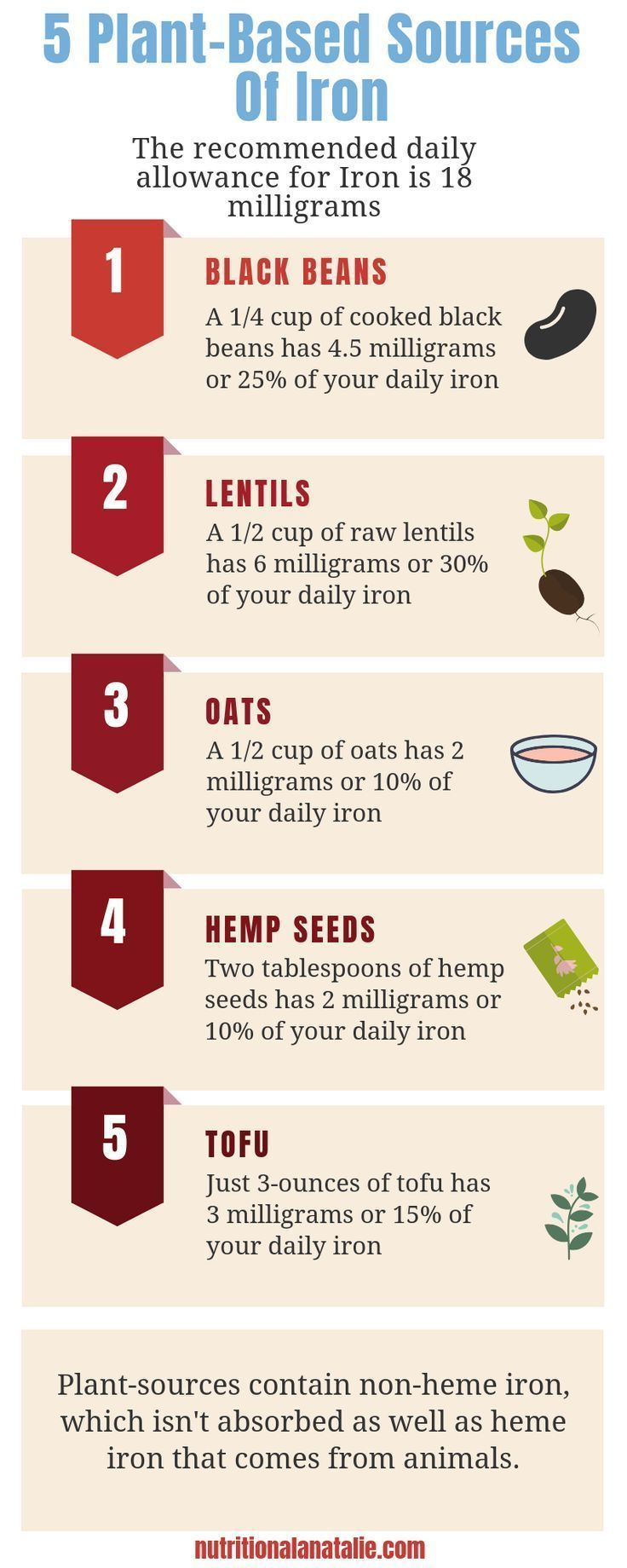 PlantBased Sources Of Iron For Vegans  Vegetarians 5 PlantBased Sources Of Iron plus info about the two different forms of iron how much you need in a day what happens if...