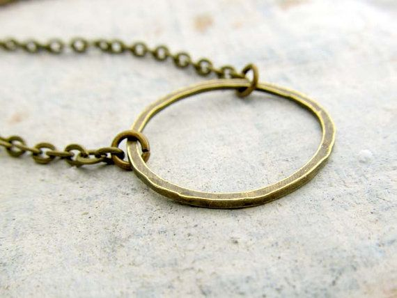 Circle Necklace Simple Br Jewelry Gift Under 15 Dollars Op Etsy 9 72