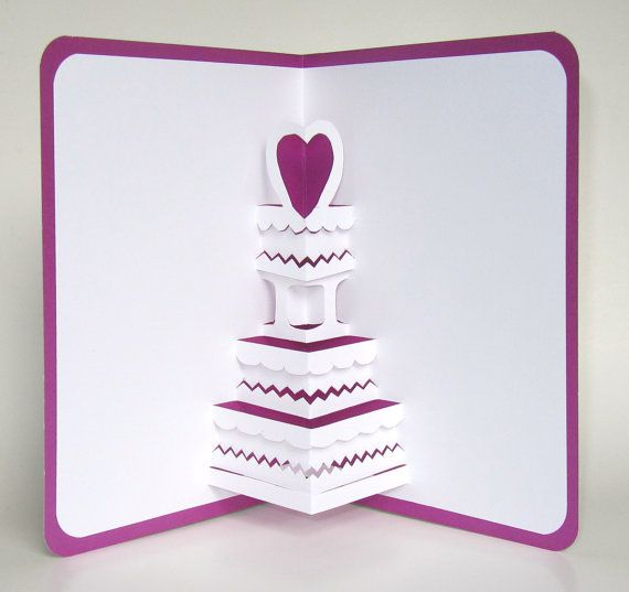Save the date wedding cake 3d pop up greeting card valentines save the date wedding cake 3d pop up greeting card valentines anniversary cake birthday cake home dcor handmade in white and purple ooak m4hsunfo