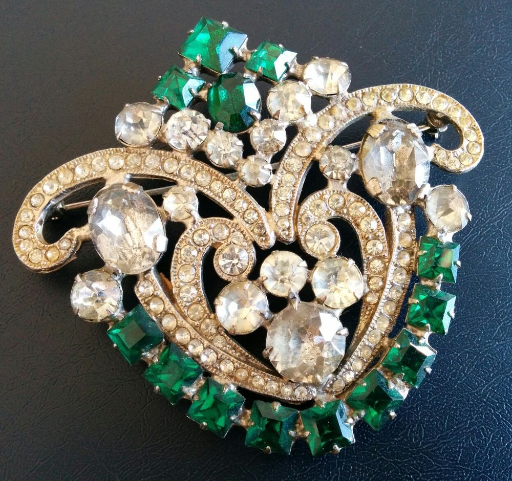 6d8809908 Sign WEISS CO NY Vintage Brooch Pin Emerald Clear Rhinestone WOW ...