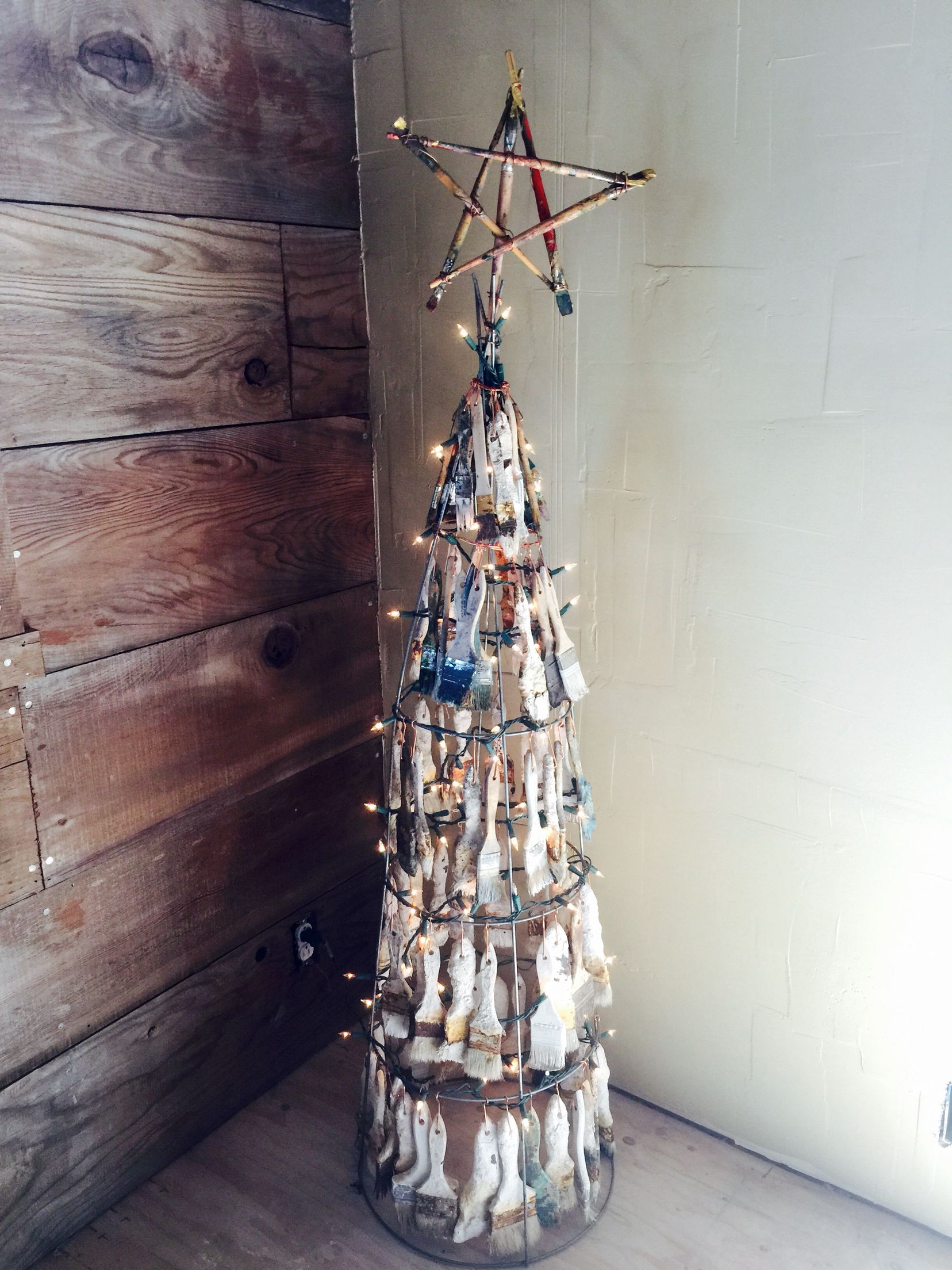 Our Arty Crafty Used Paintbrush Christmas Tree Over A