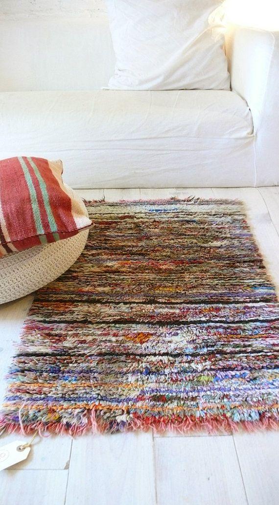 Vintage moroccan rag rug boucherouite mini por - Telas marroquies ...