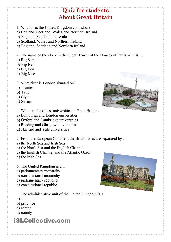 Quiz about Great Britain Aulas de inglês, Aprender inglês