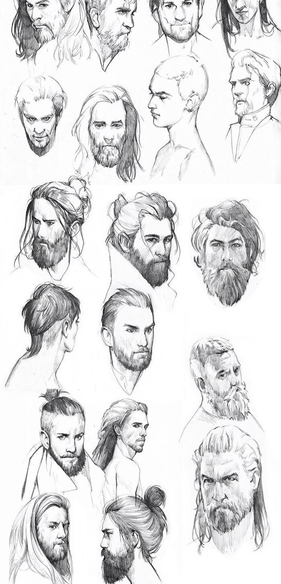 Male character studies, graphite sketches, illustration