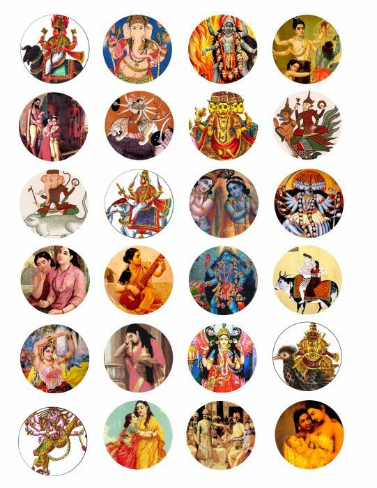 VINTAGE India Art hindu people women Krishna dieties gods goddesses clip art collage 1.5 INCH circles. $1.99, via Etsy.