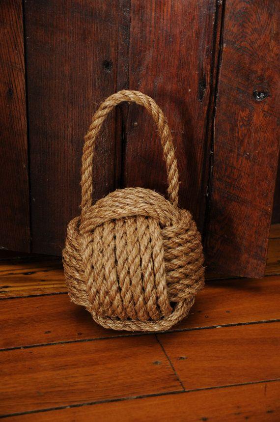 Rope Doorstop Giant Knot By Oyknot On Etsy Rope Doorstop Nautical Decor Hemp Rope