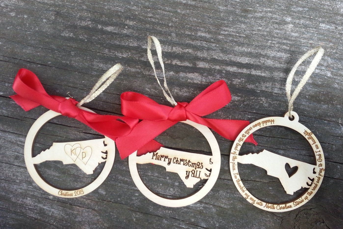 Engraved north carolina or any state christmas ornament
