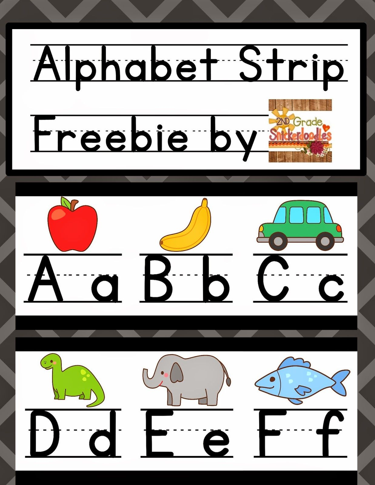 2nd Grade Snickerdoodles Alphabet Strip Posters FREEBIE