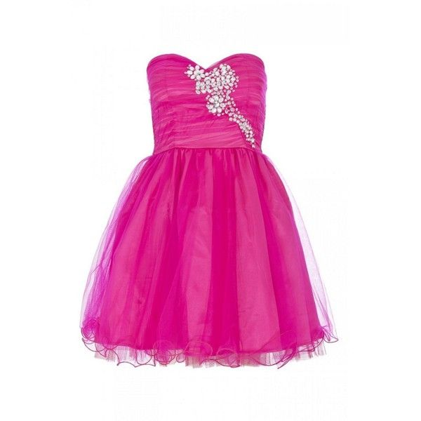 Hot Pink Diamante Mesh Prom Dress ($68) ❤ liked on Polyvore ...