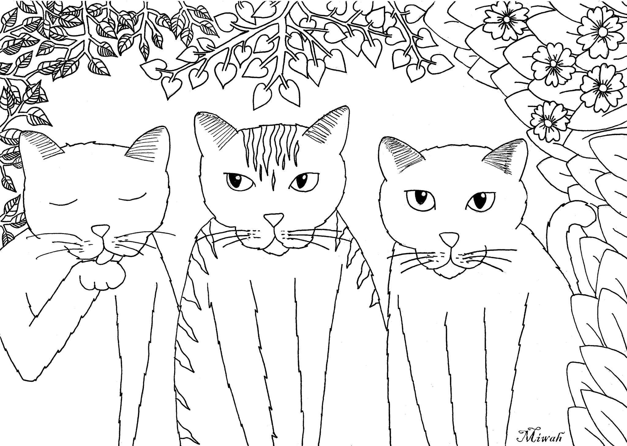 Tree Little Funny Cats Cats Coloring Pages For Adults Just Color Animal Coloring Pages Cat Coloring Book Cat Coloring Page